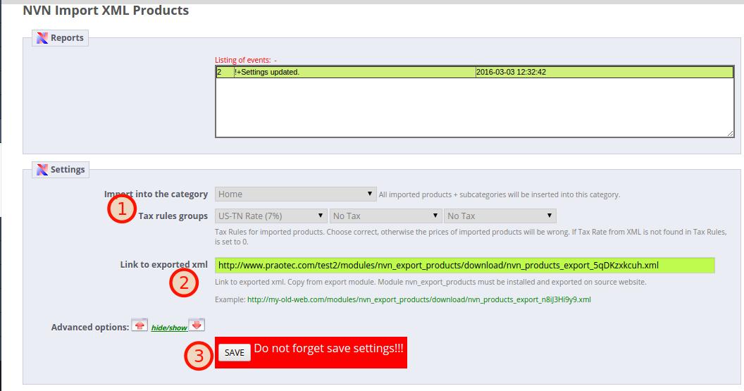 NVN Import XML Products module quick help – PRAOTEC COM